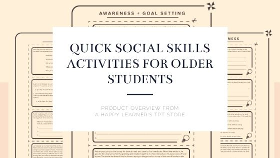 Quick Social Skils Activities |A Happy Learner Product